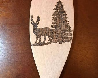 Woodburned Deer Wooden Spatula