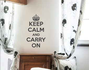 Keep Calm And Carry On Wall Sticker 88cm(H) x 44cm(W) decor wall stickers