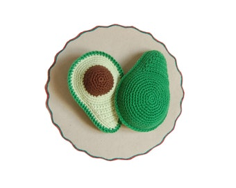 Crochet Avocado(1pcs) - Crocheted Avocado Play Pretend Food Tactile Toy Play Food Baby Gift