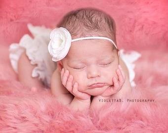 baby headband, white flower headband, Infant headband, Baptism headband