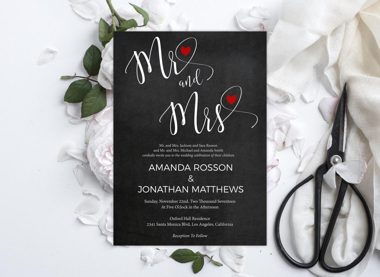 Chalkboard Mr. & Mrs. Wedding Invitation Mr. and Mrs.