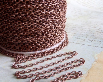Antique Copper chain - Alexandar Bell - 5 Foot - Steampunk  - Antique Copper Cross Chain