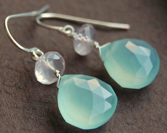 Aqua Chalcedony Rose Quartz Earrings, Wire Wrapped on Sterling Silver Ear Wires, Soft Pink and Mint, Pirouette