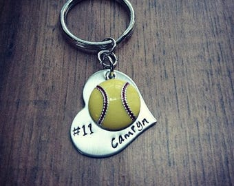 Hand Stamped Personalized Softball Keychain - Softball Keychain - Girls Softball Gift  - Softball Gifts - Softball Senior Gift