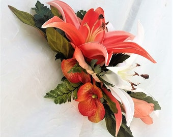 TROPICAL hair flower, hair accessory, Real Touch lilies, Bridal hair piece, decorative comb, Wedding headpiece, Hawaiian, silk flower,Beach