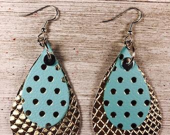 Leather earrings, Leather jewelry, Teardrop earrings, Bold earrings, Drop earrings