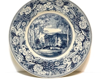 Vintage Wedgwood blue and white Plate, Carnegie Library Pomona College, California