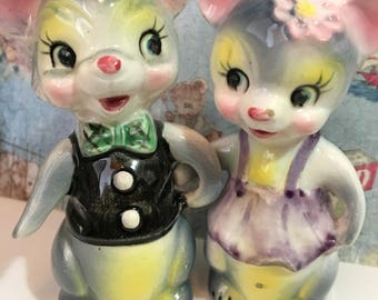 VERY RARE Vintage Mr. and Mrs. Mouse Mice Couple Salt and Pepper Shakers Antique Collectibles or Wedding Cake Toppe