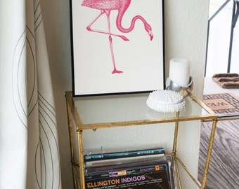 Coral Pink Flamingo Freehand Ink Drawing Limited Edition Print