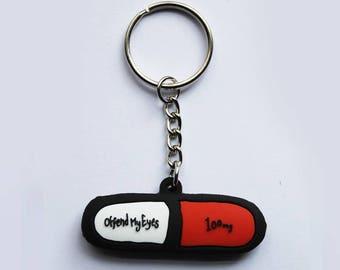 100mg Pill Capsule Medicine Tablet Pendant keyring on keychain ideal for a nurse doctor pharmacist drug psychonaut high keys accessory
