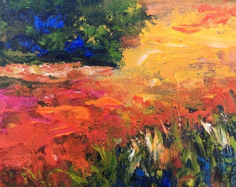 Twilight - point of view #6, original art, landscape, acrylic, semi-abstrait, 6 3/8 x 11 1/8 in. (16 x 28.5 cm), landscape, acrylic.