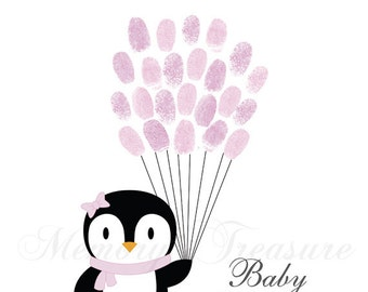 Baby Shower Guest Book Alternative Penguin Birthday Penguin Thumbprint Guestbook Penguin Fingerprint Guestbook Penguin Baby Shower Thumbprin