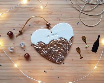 Gold wine gift, gold wine heart, I love wine, porcelain gold heart, hanging wine heart, handmade, birthday gift, mother's day gift