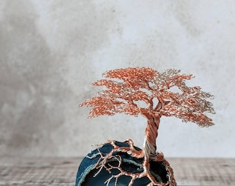 Non Tarnishing Copper and Non Tarnishing Silver Plated Copper Wire Tree on a blue polished agate base