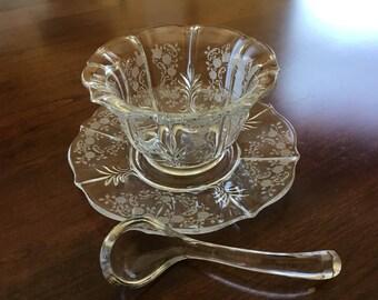 Fostoria Chintz Crystal Mayonnaise Bowl, Ladle and Underplate