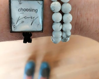 "Marble and Suede Bracelet ""choosing joy"" - black suede,  adjustable bracelet,"
