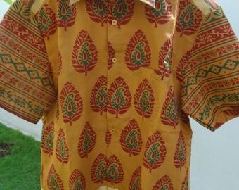 Men's Handmade Indian Woven Cotton Lined Short Sleeved Button Down Pocket Shirt -  Sanjiv  F610
