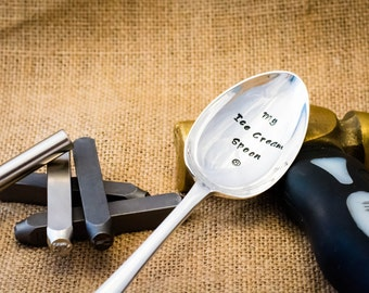 My Ice Cream Spoon / Personalised Engraved Spoon / Hand Stamped Spoon / Ice Cream Gift / Stamped Cutlery / Engraved Cutlery