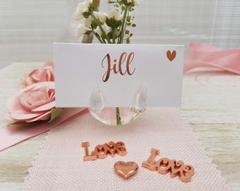 Set of 4 Glass Place Card and Flower Holder, Two in one Pretty Dainty Glass Vase Flower Holder and Name Holder,