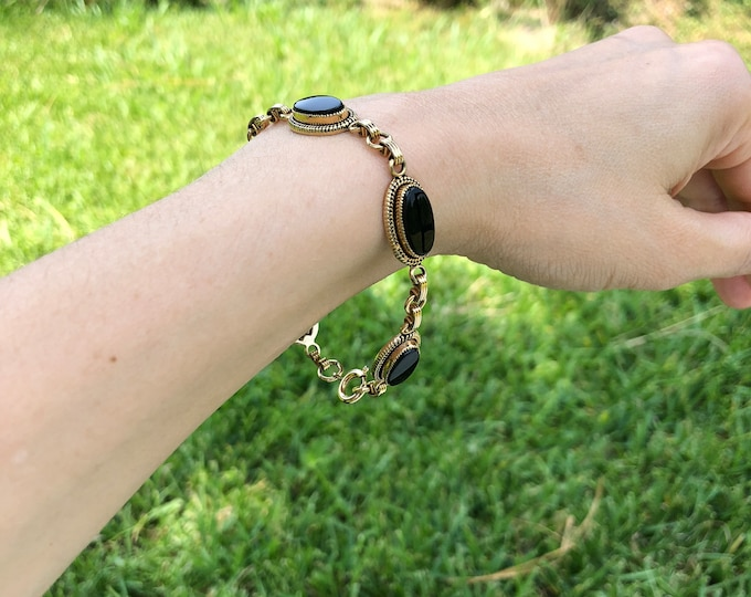 Vintage 12K Yellow Gold Filled Bezel Set Onyx Link Bracelet