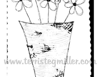 Thermofax Screen - Flowers in Vase