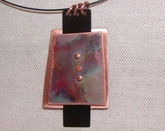 Copper/black/heat patina necklace
