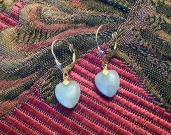 "1980s Darling Little 14K ""Celadon"" Green Jade Earrings, (2.8cm) Nephrite Dangle Settings/Leverbacks - Petite"