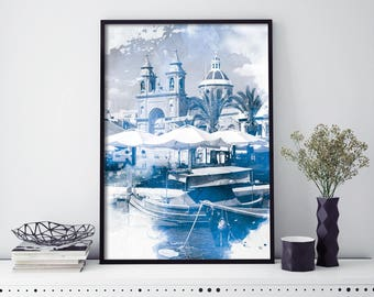 Marsaxlokk Malta Watercolour Print Wall Art | 4x6 5x7 A4 A3 A2