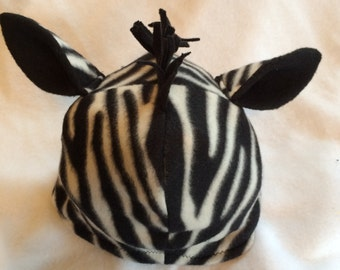 Zebra Warm Fleece Hat - Toddler / Child