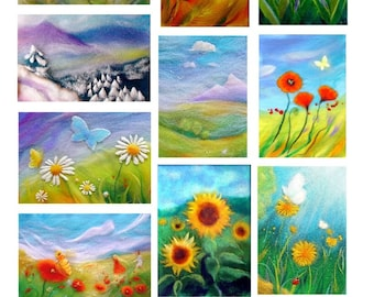 10 cards: flowers and landscapes in wool