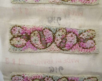 Antique Beaded Applique French 1920s