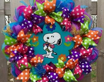 Snoopy wreath, spring wreath, summer front door wreath, snoopy front door wreath, peanuts wreath, snoopy decor, snoopy spring
