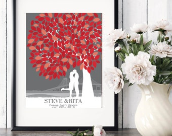 Wedding Guest Book, Canvas Wedding Tree Guest Book, Personalized Skyline & Silhouette / Art Print or Canvas / W-T05-1PS HH3 06P