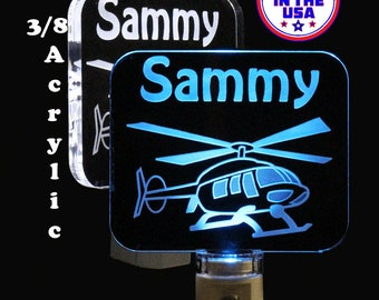 Helicopter Night Light, Personalized Kids Lamp, Handmade, LED