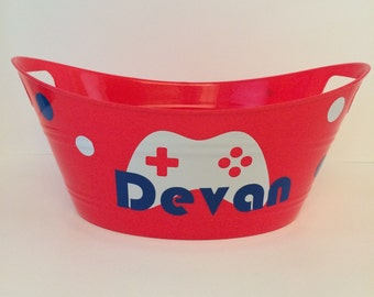 Personalized Game Controller Tubs, Personalized gift baskets, Childrens gift baskets, Personalized party favors, toy storage bin, gamer gift