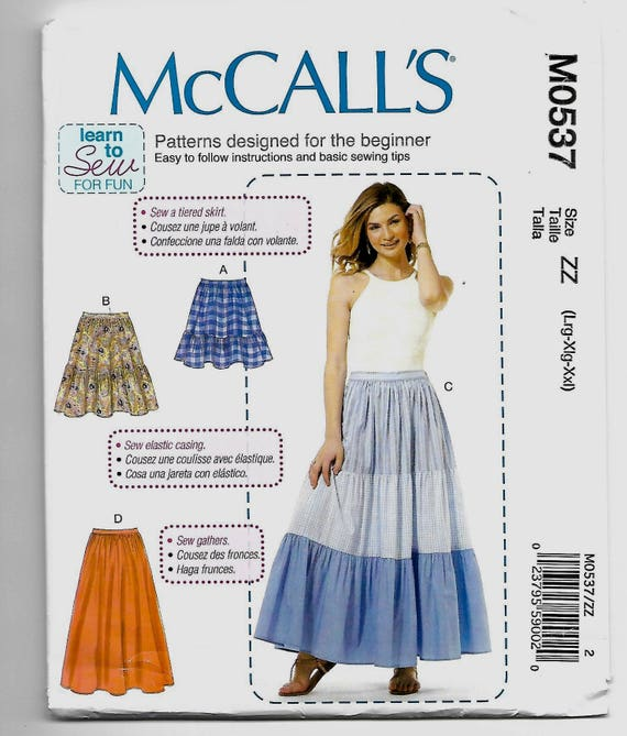 M0537 McCall\'s Pull on Skirts Sewing Pattern Sizes 16-26 Learn to ...