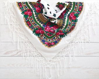 Summer Party, White Floral shawl, Summer Outdoors, Ukrainian shawl, Retro Russian shawl, Bohemian Scarf, Bridal Accessories, Gift for Wife