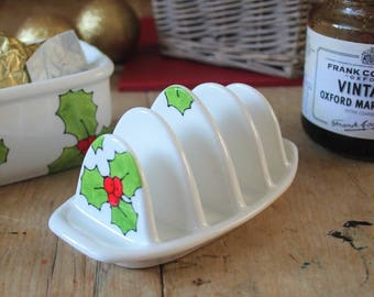 Holly toast rack hand painted floral china toast rack