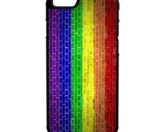 LGBT Flag Brick Wall iPhone Galaxy Note HTC LG Protective Hybrid Rubber Hard Plastic Snap on Case Black