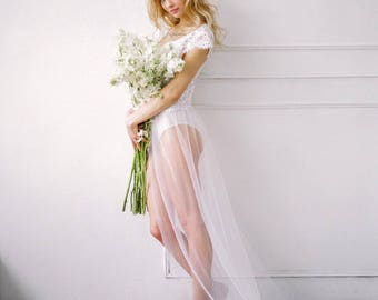 SKY. Romantic style boudoir gown.