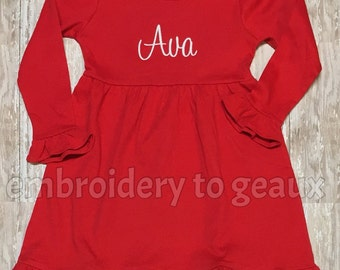 Items similar to girls christmas dress girls christmas outfit