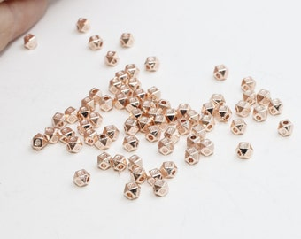 100 Pcs 4mm Rose Gold Faceted Beads, Rose Gold Diamond Beads, Oval , Rose Gold Spacer Beads, ROSE361