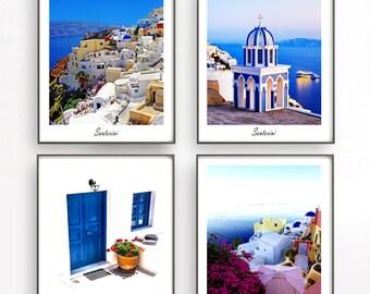 Santorini photography Santorini prints Santorini set of 4 prints Greece photography Greece Santorini poster Door photography Greek wall art