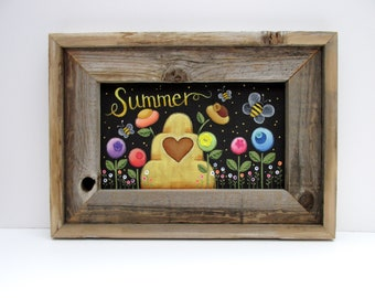 Beehive with Bumble Bees, Summer Sign, Colorful Round Flowers, Yellow Bees, Framed in Reclaimed Barn Wood, Rustic Barn Wood, Hand Painted