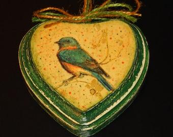 Wooden Heart/Decoupage Wooden Small Heart