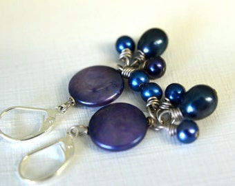Coin Pearl Earrings Blue Earrings Dark Blue Royal Sapphire Navy