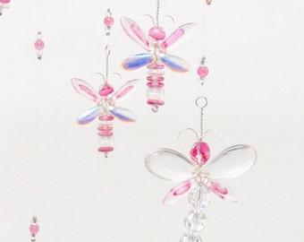 Pink Dragonfly Mobile Girl's Room Decor Baby Girl Mobile Baby Shower Gift Nursery Chandelier Mobile Crystal Suncatcher Xmas Gift for her