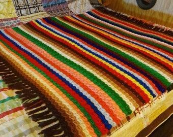 Vintage Handmade Crochet Afghan Blanket Throw Rainbow of Colors Long Fringe 51 x 54 Great Gift Hand Sewn