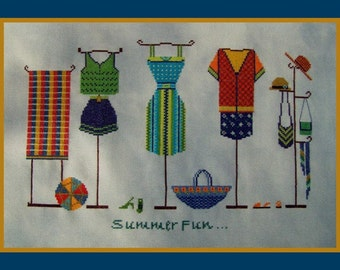 Couture Cross Stitch Instant Download Pattern Summer Fun! Counted Embroidery Chart. Dresses Accessories Design. Shop Window X Stitch