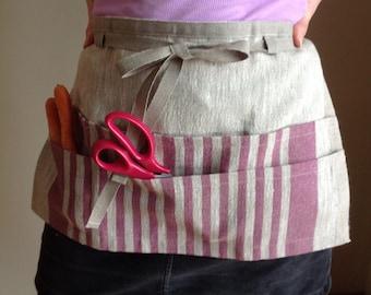 linen utility apron / gardening apron / half apron / teachers apron / monogrammed gift